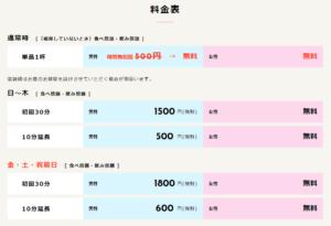 相席屋の料金表